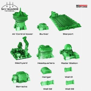 Sci Fi Terrain for 3D <br />printer MILITARY BUILDINGS