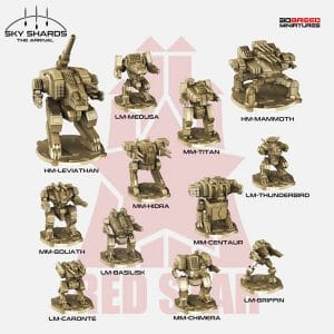 MINIATURAS IMPRESAS EN 3D DE RED STAR MECH PACK.