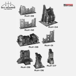 Sci Fi Terrain for 3D <br />printer RUINS
