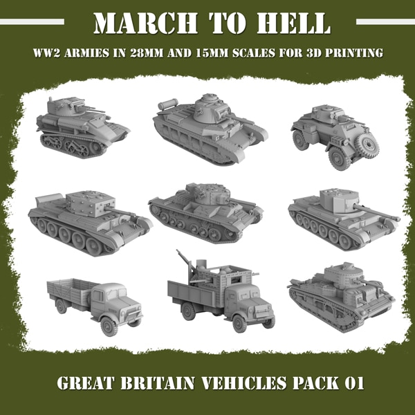 Brisith vehicle PACK WW2 3d printed