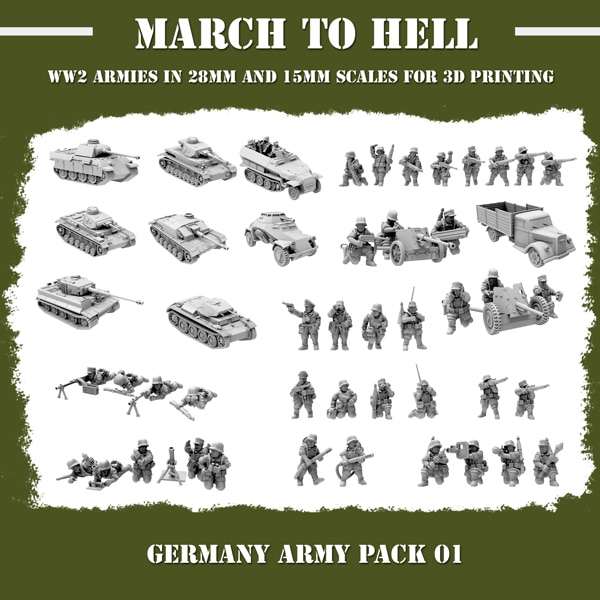 WW2 German Army (Wehrmacht) ARMY PACK 3d printed