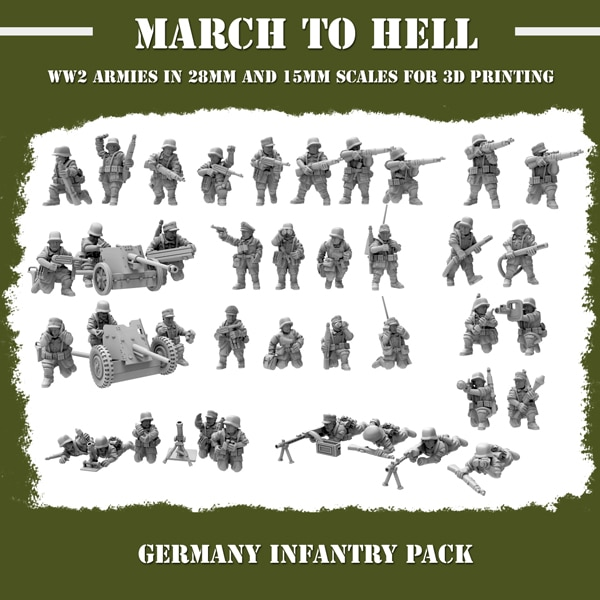 WW2 GERMANY INFANTRY PACK 3d printed miniatures