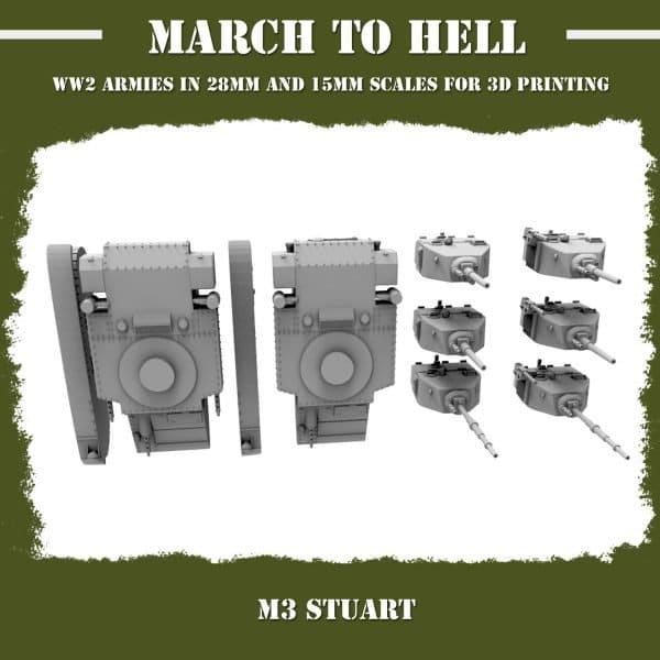 M3 Stuart 3d printed parts