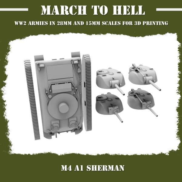 M4A1 Sherman 3d print parts