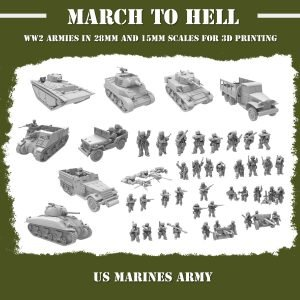 "WW"" US marines army 3d printed"