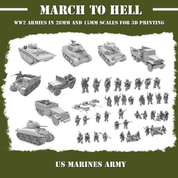 "WW"" US marines army 3d printed"
