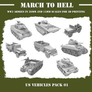 WW2 US vehicles pack 3d printed miniatures