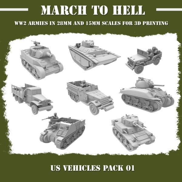 WW2 US vehicles pack 3d printed miniatures