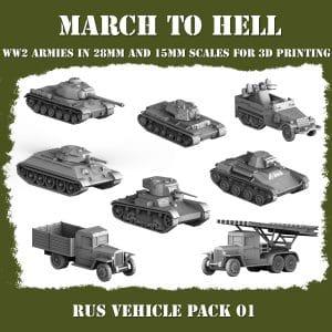 RUS Vehicle pack 3d printed