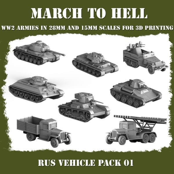 RUS Vehicle pack 3d printed