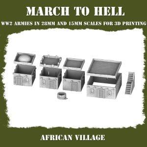 AFRICAN VILLAGE ww2 3d printed buildings