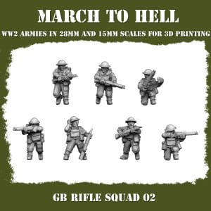 GB RIFLE SQUAD 02 ww2 3d printed miniatures