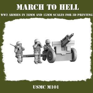 USMC_M101 ww2 cannon 3d printed miniatures