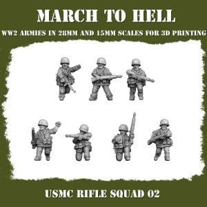 USMC_RIFLE SQUAD 02 3d printed miniatures
