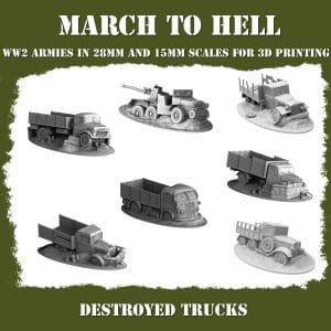 destroyed trucks ww2 3d printed